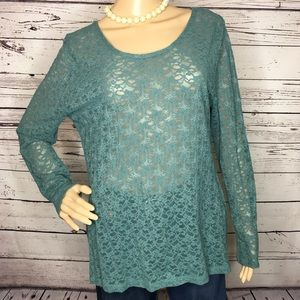 Soft Surroundings Teal Lace Long Sleeve Tunic Top